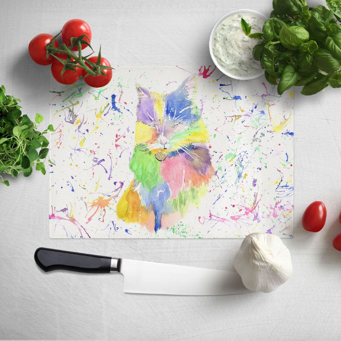 Glass worktop saver/chopping board (Pastel Cat)
